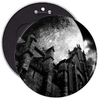 Gothic church with giant full moon button