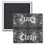 Gothic clean dirty dishwasher kaleidoscope 2 inch square magnet