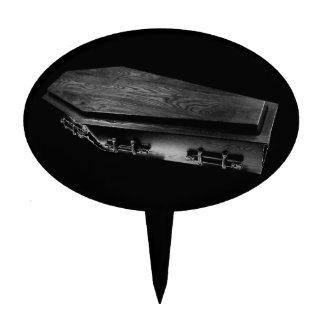 Gothic Coffin Spooky Black Cake Topper