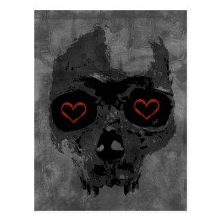 Gothic Creepy Skull Heart Eyes Postcard