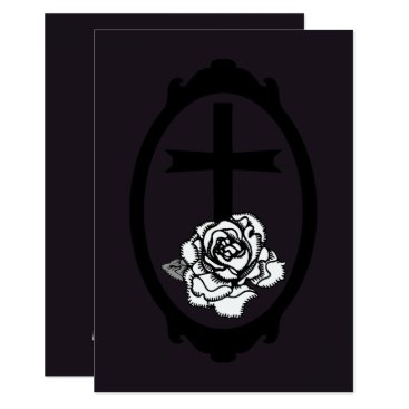 Wedding Themed Gothic Cross and Rose Cameo Wedding Invitations