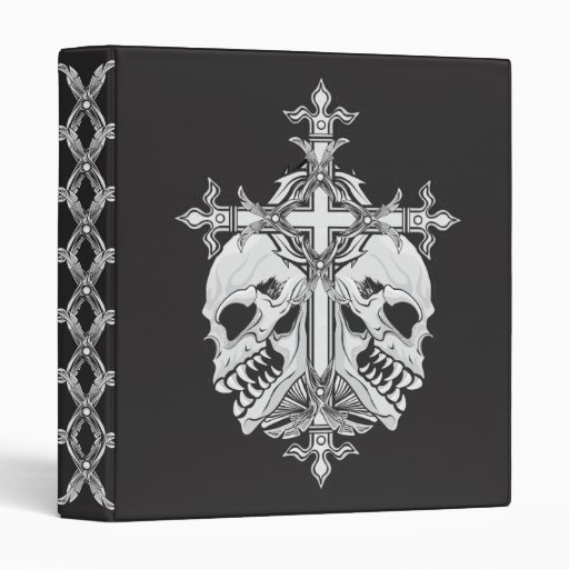 Gothic Cross and Skulls Binder