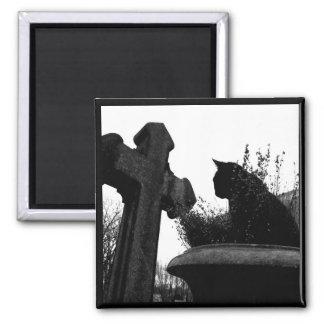 Gothic Cross & Black Cat magnet