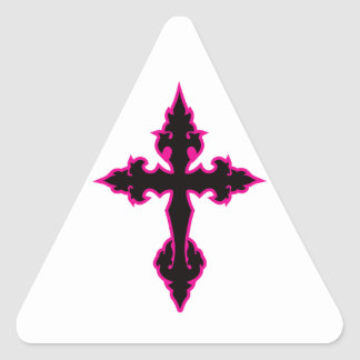 gothic cross hot pink and black triangle sticker