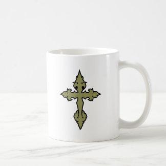 gothic cross khaki green and black coffee mug