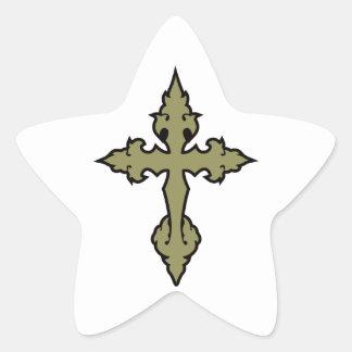 gothic cross khaki green and black sticker