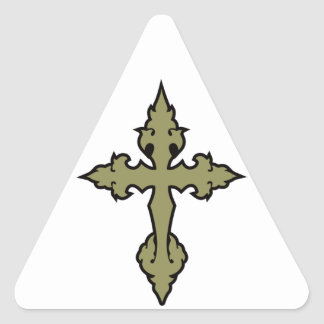gothic cross khaki green and black triangle sticker