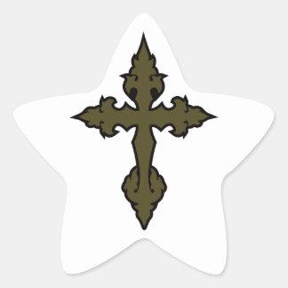 gothic cross olive drab green star sticker