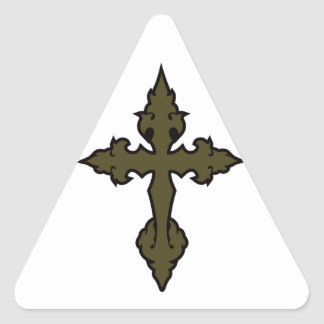 gothic cross olive drab green triangle sticker