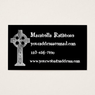 Gothic Cross Skull Tombstone Business Card