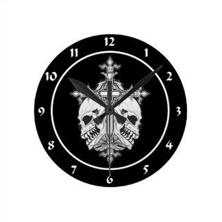 Gothic Cross with Skulls Clocks