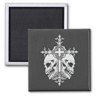 Gothic Cross with Skulls Magnet