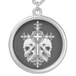 Gothic Cross with Skulls Personalized Necklace