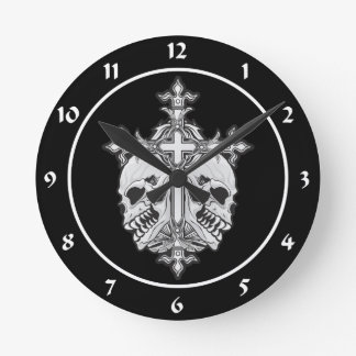 Gothic Cross with Skulls Round Clock