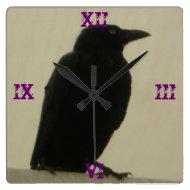 Gothic Crow Clock