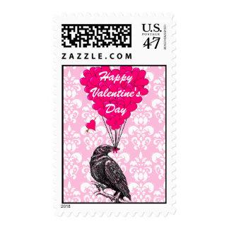 Gothic crow love heart Valentine's Stamp