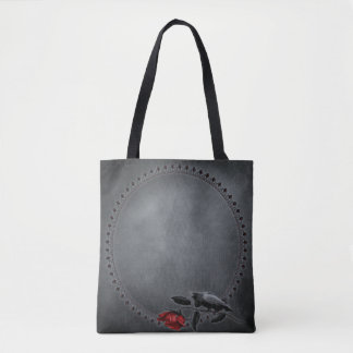 Gothic Crow on Rose All-Over-Print Tote Bag