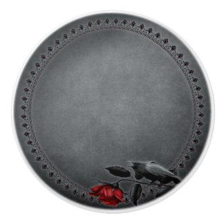Gothic Crow on Rose Ceramic Knob