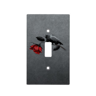 Gothic Crow on Rose Light Switch Cover
