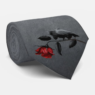 Gothic Crow on Rose Tie