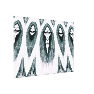 Gothic Cult Mask evil black and white drawing Canvas Print