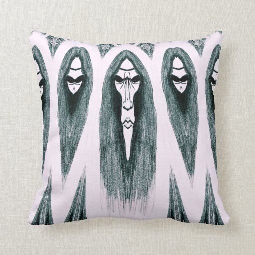 Gothic Cult Mask evil black and white drawing Throw Pillows
