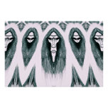 Gothic Cult Mask evil black and white drawing Posters