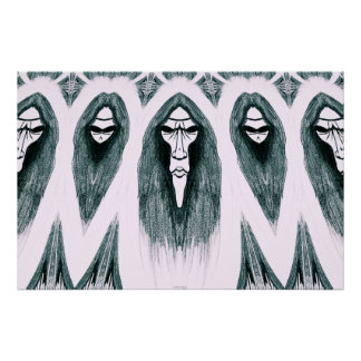 Gothic Cult Mask evil black and white drawing Poster