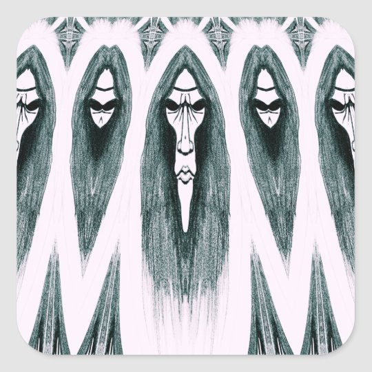 Gothic Cult Mask evil black and white drawing Square Sticker