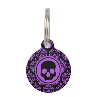 Gothic cute skull purple black spooky pet ID tag