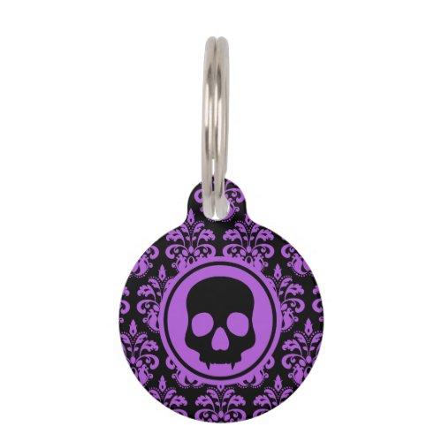 Gothic cute skull purple black spooky pet ID tag