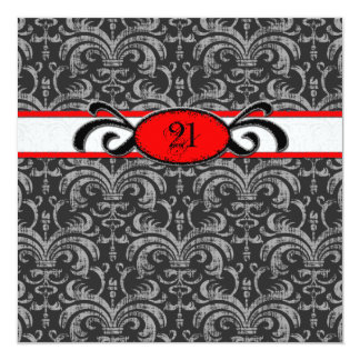 Gothic Damask Birthday for 21-year-old Red & Black Card