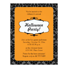 Gothic Damask Halloween Party Invitation at Zazzle