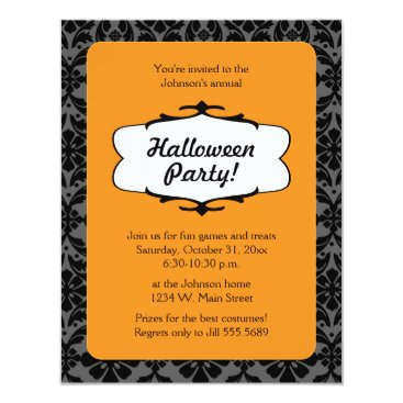 whimsydesigns Gothic Damask Halloween Party Invitation