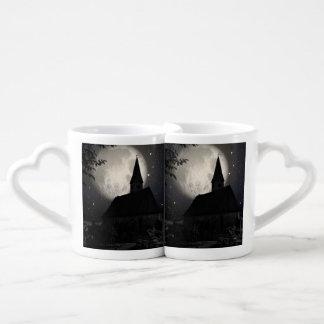 Gothic dark castle (church) in the moon light coffee mug set