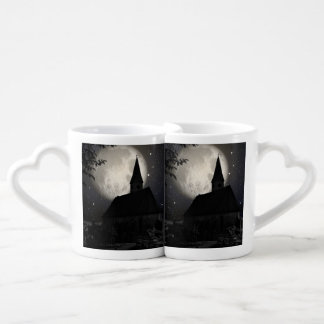 Gothic dark castle (church) in the moon light lovers mug set