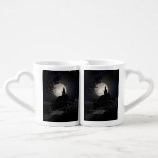 Gothic dark castle (church) in the moon light couple mugs