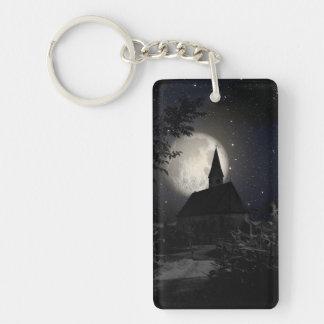 Gothic dark castle in the moon light Single-Sided rectangular acrylic keychain
