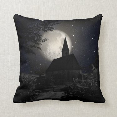 Gothic dark castle in the moon light throw pillows