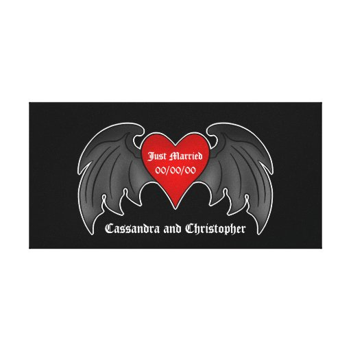 Gothic dark red winged heart just married stretched canvas print