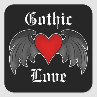 Gothic dark red winged heart Love Square Stickers