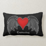 Gothic dark red winged heart personalized pillow