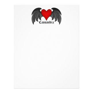 Gothic dark red winged heart Valentines Day Letterhead
