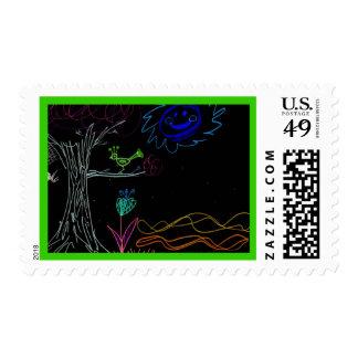 Gothic Day Glow Chalk Art Postage Stamp