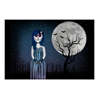 Gothic Day Of The Dead Girl Poster
