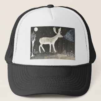 Gothic Deer, Stag at Night Ink Painting Trucker Hat