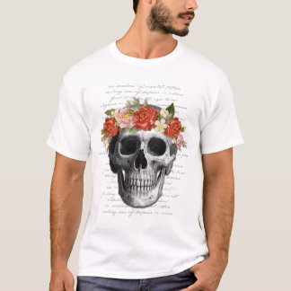 """Gothic Design """"Flowers & Skull"""" Typography Collage T-Shirt"""