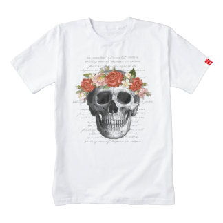 """Gothic Design """"Flowers & Skull"""" Typography Collage Zazzle HEART T-Shirt"""