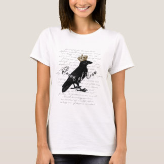 "Gothic Design ""Queen of Crow"" Typography Collage T-Shirt"