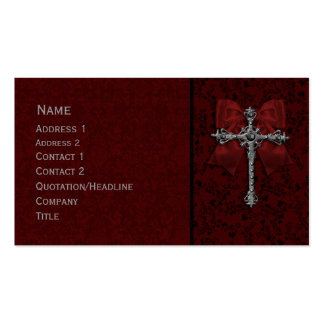 Gothic Design with bow and cross Business Card Template